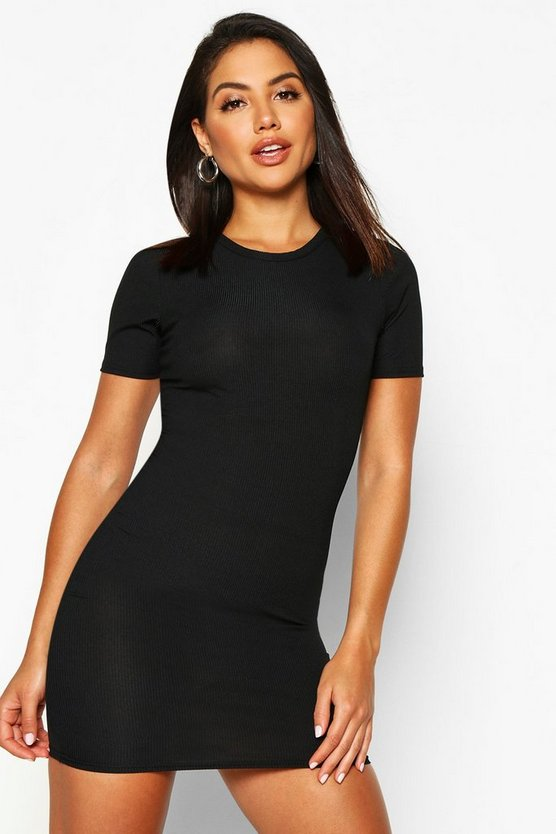 Womens Black Basic Rib Crew Bodycon Dress