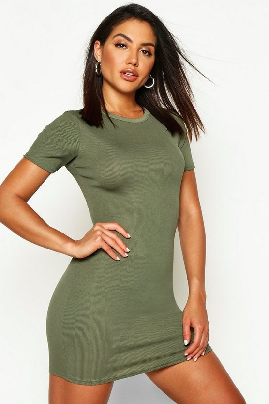 Womens Khaki Basic Rib Crew Bodycon Dress
