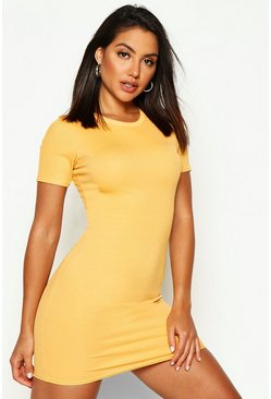 Mustard Basic Rib Crew Bodycon Dress
