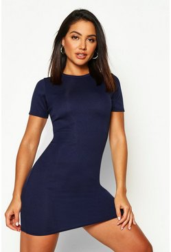 Navy Basic Rib Crew Bodycon Dress