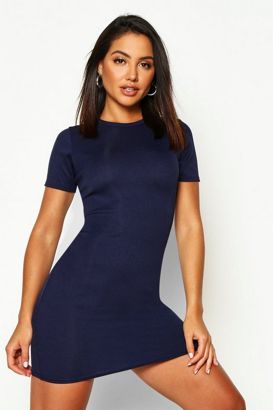 Womens Navy Basic Rib Crew Bodycon Dress