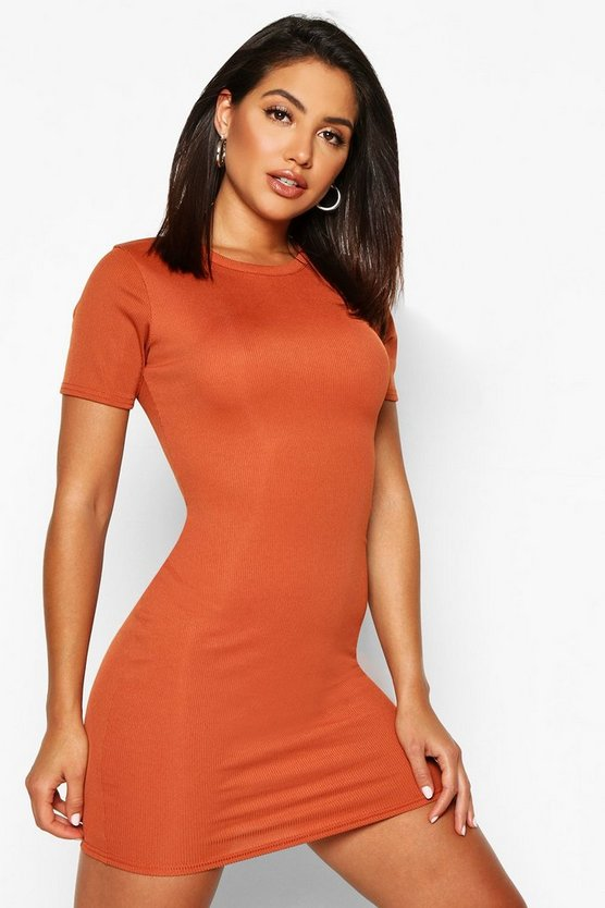 Womens Terracotta Basic Rib Crew Bodycon Dress