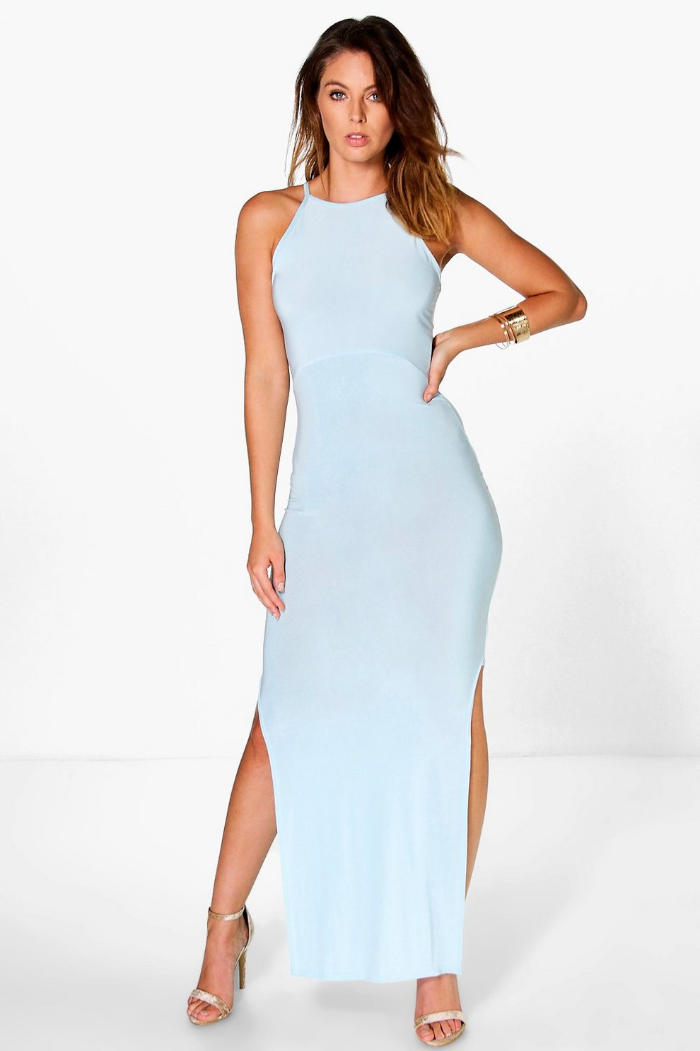 f718d1ba921 Kia Slinky High Neck Side Split Maxi Dress | Boohoo