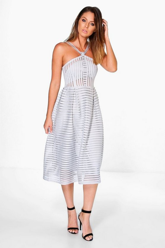 Niamh Striped Panelled Strappy Skater Dress