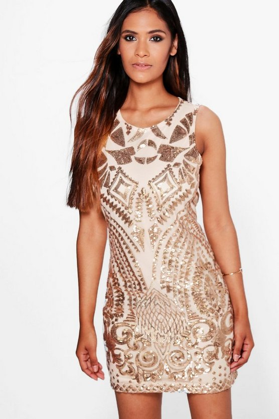 Boutique Serena Sequin Print Bodycon Dress
