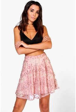 Womens Nude Boutique Alala Embroidered Sequin Skater Skirt