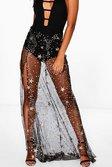 1e4caaaf81a8 ... Womens Black Gia Split Front Glitter Star Mesh Maxi Skirt alternative  image