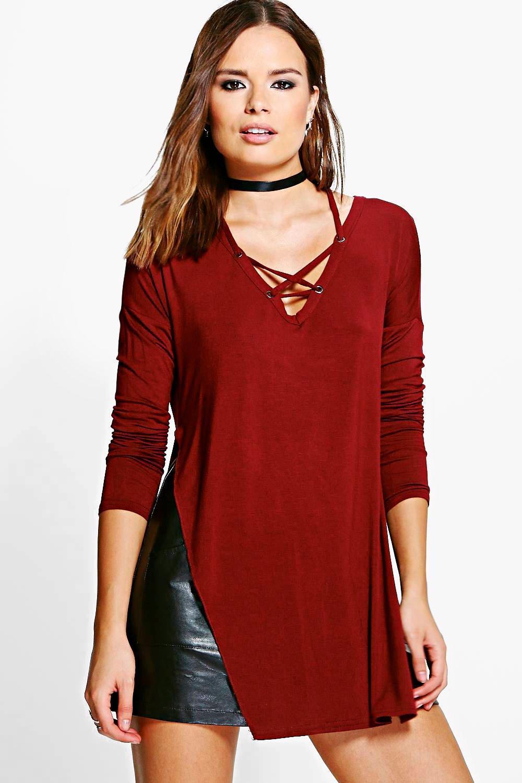 c500ba258259 Rebecca Lace Up Side Split Long Sleeve Top | Boohoo