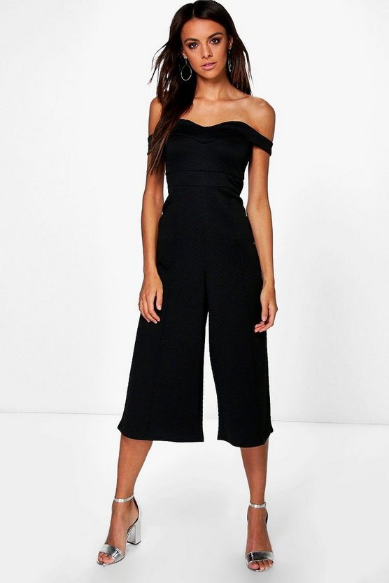 Textured Bardot Structured Culotte Jumpsuit