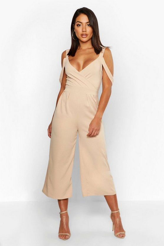 Womens Stone Drape Shoulder Jumpsuit