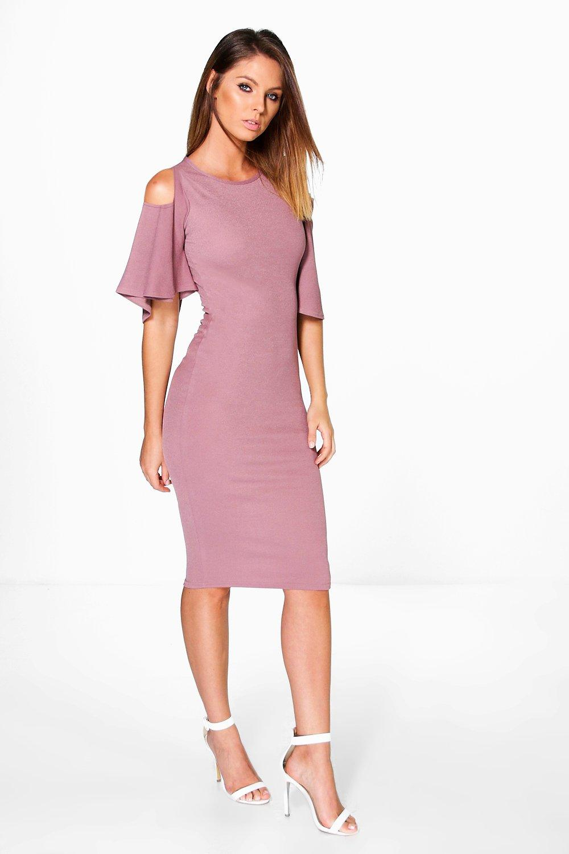 Grace Open Shoulder Bell Sleeve Midi Dress | boohoo Australia