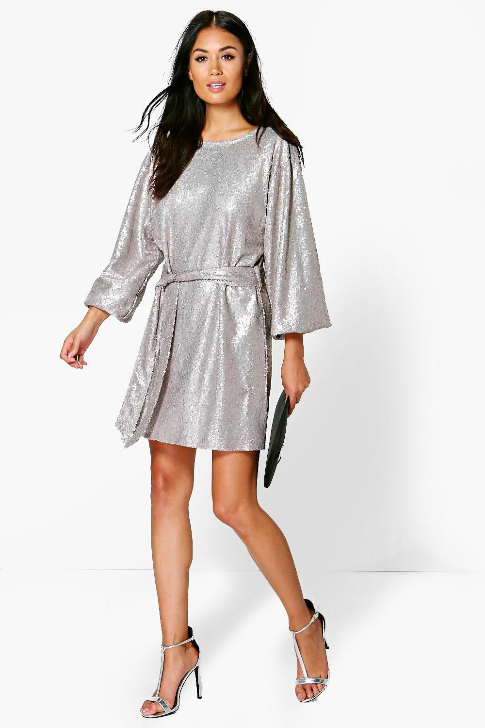 Sequin Belted Long Sleeve Shift Dress grey aa495c601
