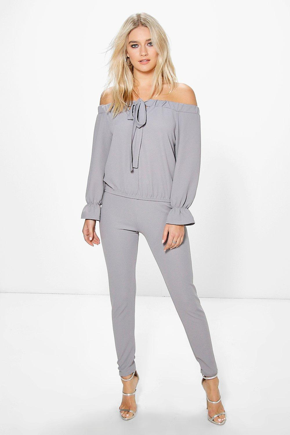 c81819da2c8d43 Jenny Off The Shoulder Top And Trouser Co-Ord Set. Hover to zoom
