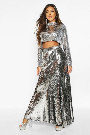 Womens Silver Boutique Paola Floor Sweeping Sequin Maxi Skirt