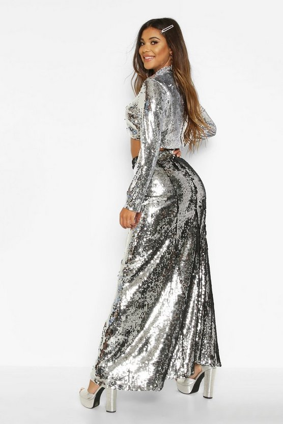 Boutique Paola Floor Sweeping Sequin Maxi Skirt