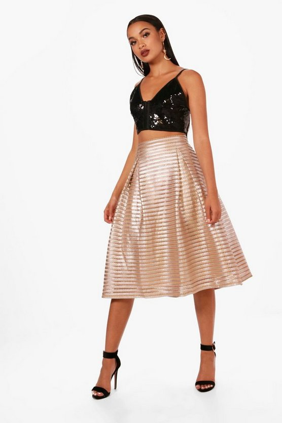 Metallic Full Midi Skirt