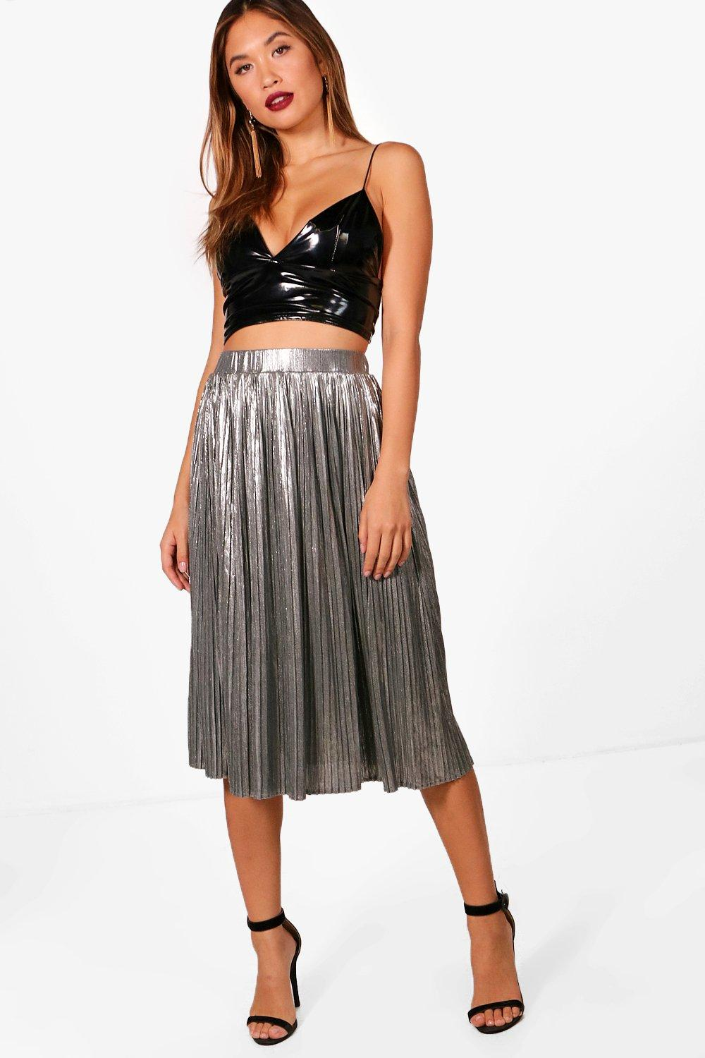 d6582ca31e62 Womens Silver Metallic Pleated Midi Skirt. Hover to zoom