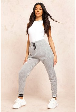 Womens Grey Basic Mono Cuff Knitted Joggers