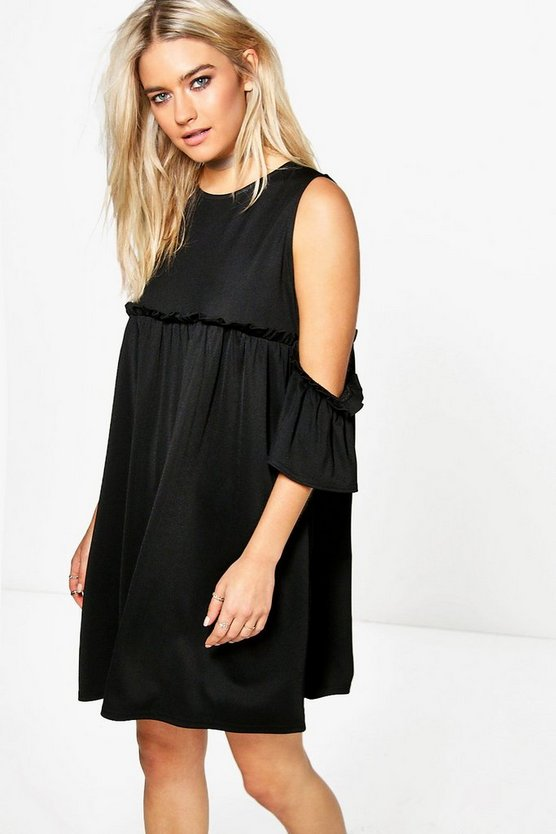 Cold Shoulder Ruffle A-line Shift Dress