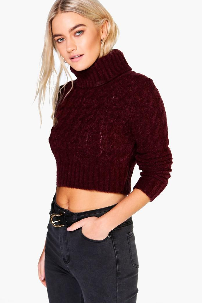 Petite Roll Neck Cable Knit Crop Sweater Boohoo - Www imagez co