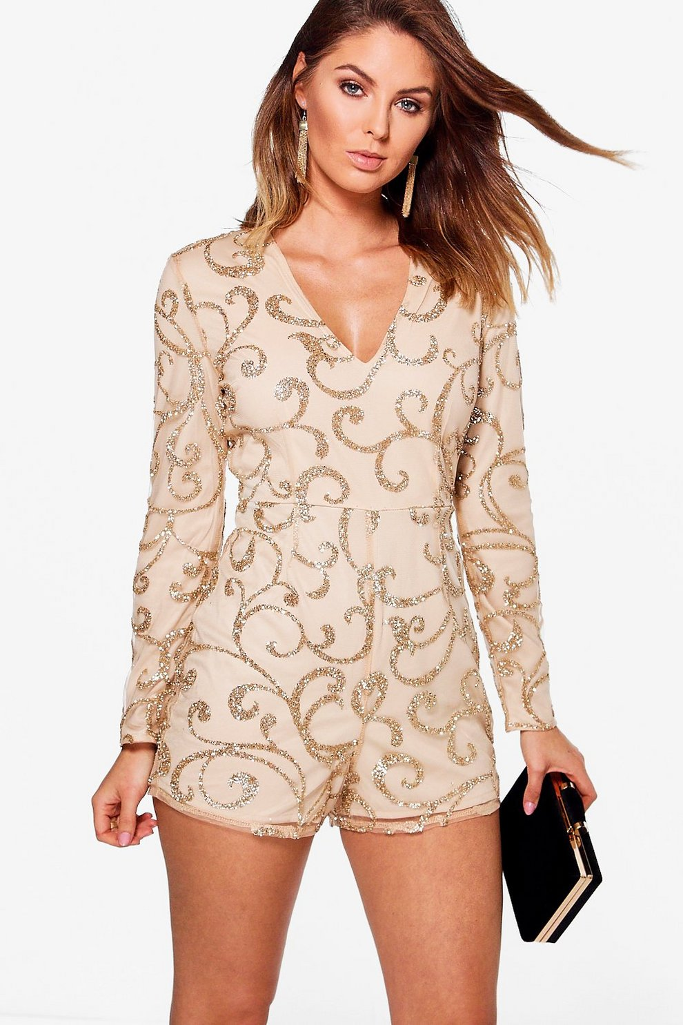 82267f8723 Boutique Glitter Mesh Long Sleeve Plunge Playsuit