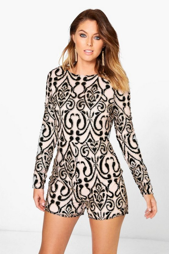 Womens Black Glitter Velvet Flocked Long Sleeve Playsuit