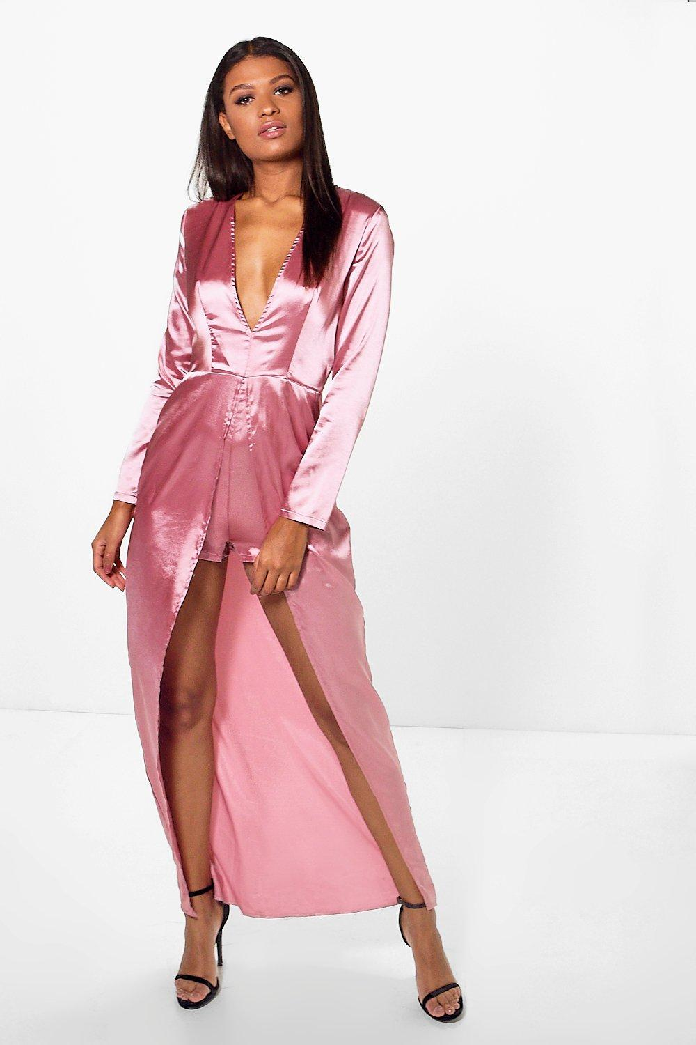 Mia Satin Plunge Maxi Overlay Playsuit. Hover to zoom