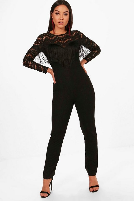 Corded Lace Tassel Body Long Sleeve Jumpsuit