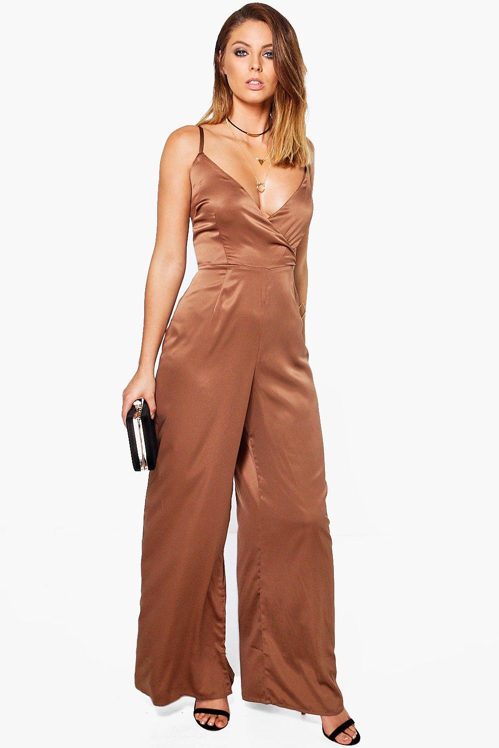 Boohoo Womens Lucy Wrap Front Strappy Satin Jumpsuit | eBay