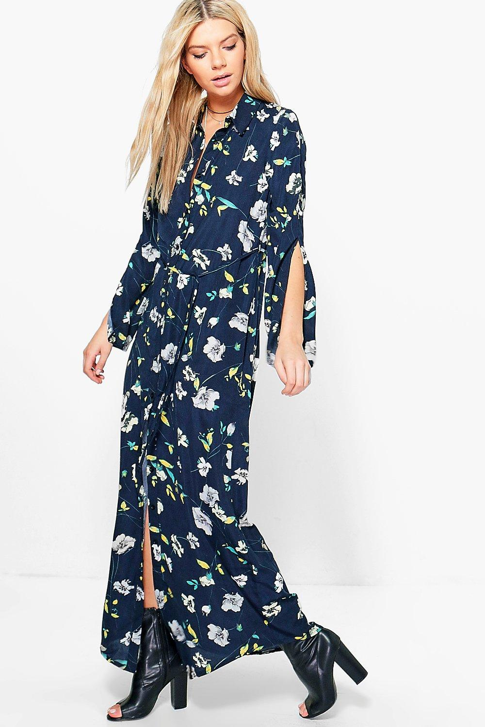 Angela Floral Maxi Shirt Dress Boohoo