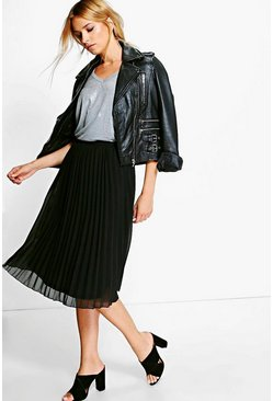 Womens Black Chiffon Pleated Midi Skirt