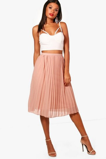 Womens Sand Chiffon Pleated Midi Skirt
