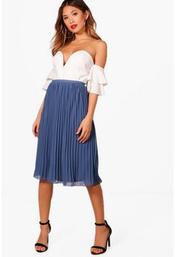 Womens Vintage blue Chiffon Pleated Midi Skirt