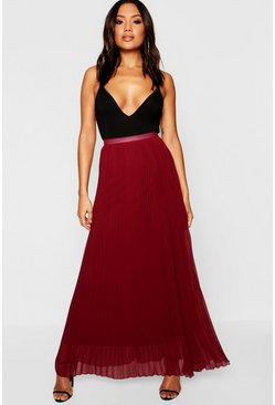 Berry Chiffon Pleated Maxi Skirt