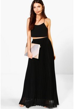 Black Chiffon Pleated Maxi Skirt