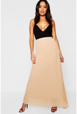 Camel Chiffon Pleated Maxi Skirt