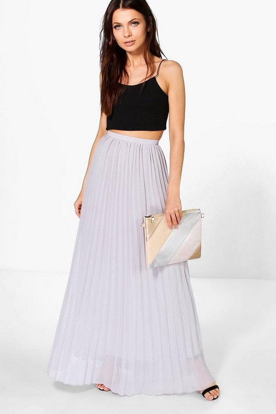 Womens Dove Chiffon Pleated Maxi Skirt