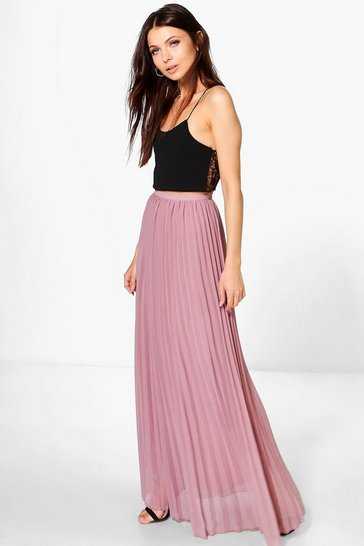 Womens Mauve Chiffon Pleated Maxi Skirt