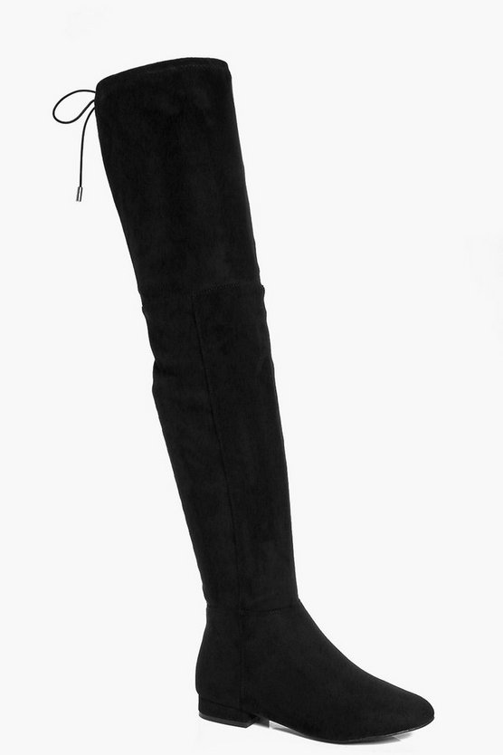 Black Wide Fit Flat Thigh High Tie Back Boots