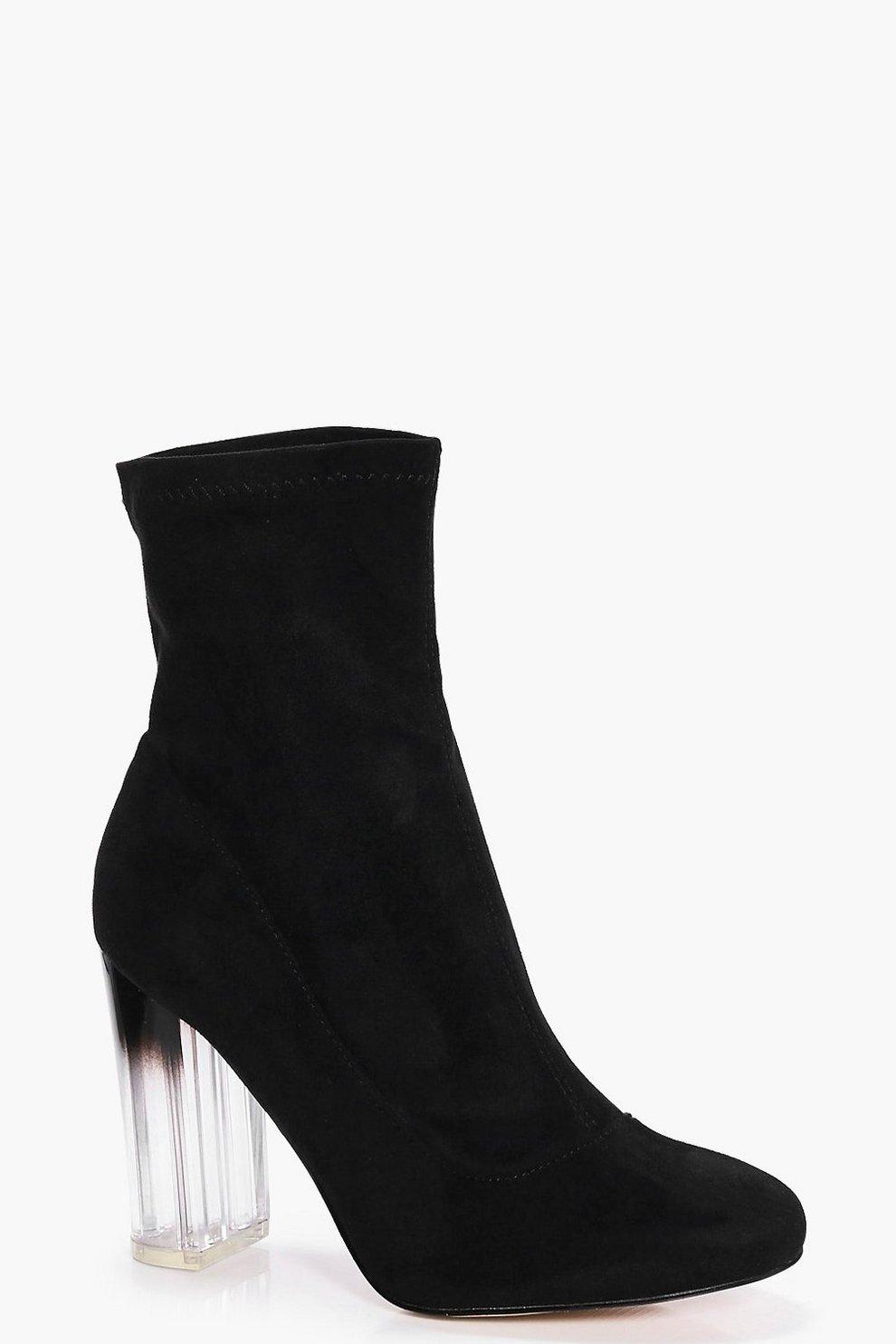 158c35338b3b Wide Fit Clear Heel Sock Boots