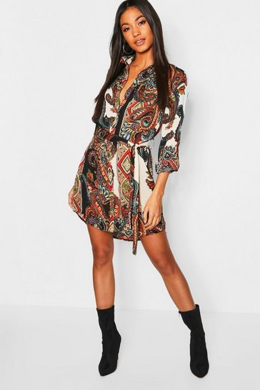 Womens Multi Paisley Shirt Dress