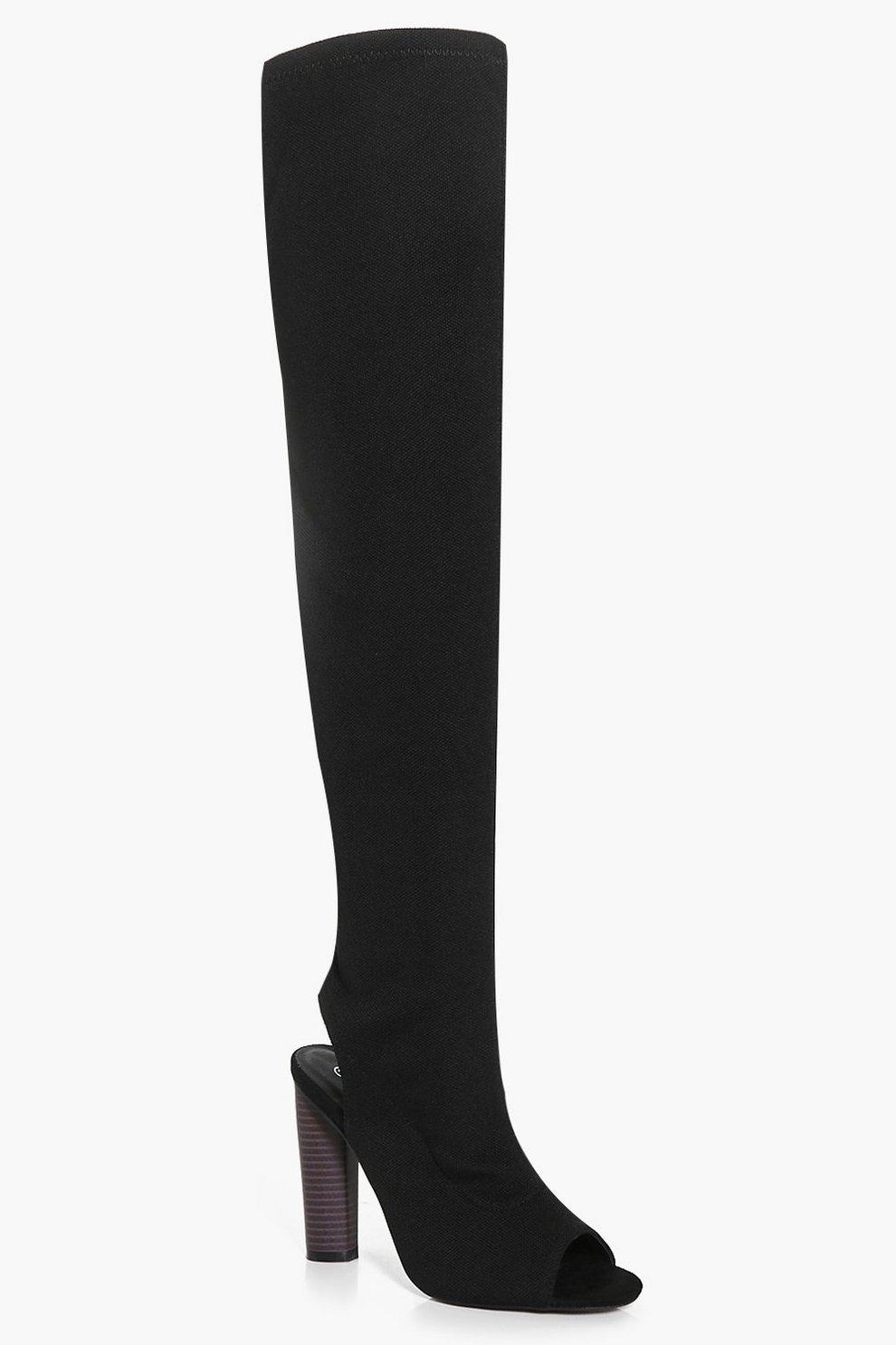 902c7fda Lena Knitted Peeptoe Over The Knee Boot