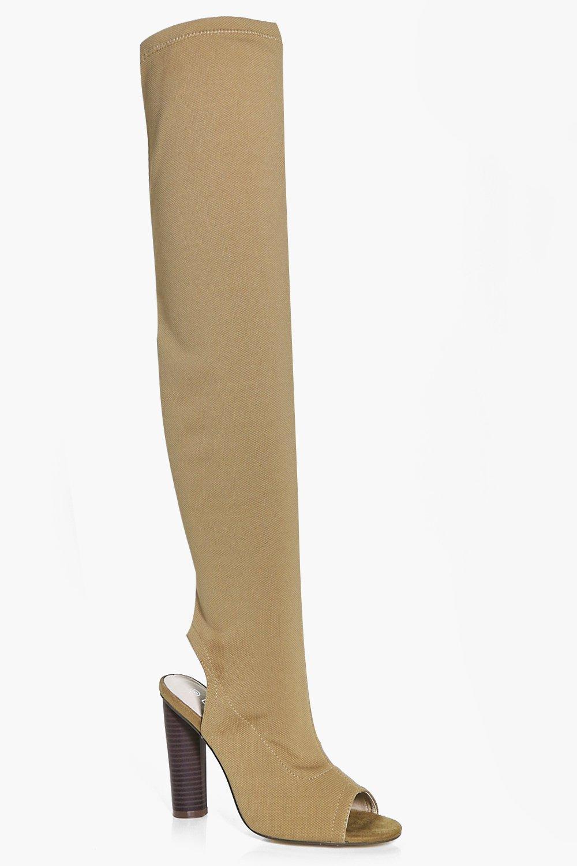 9b8c1ddd Lena Knitted Peeptoe Over The Knee Boot | Boohoo