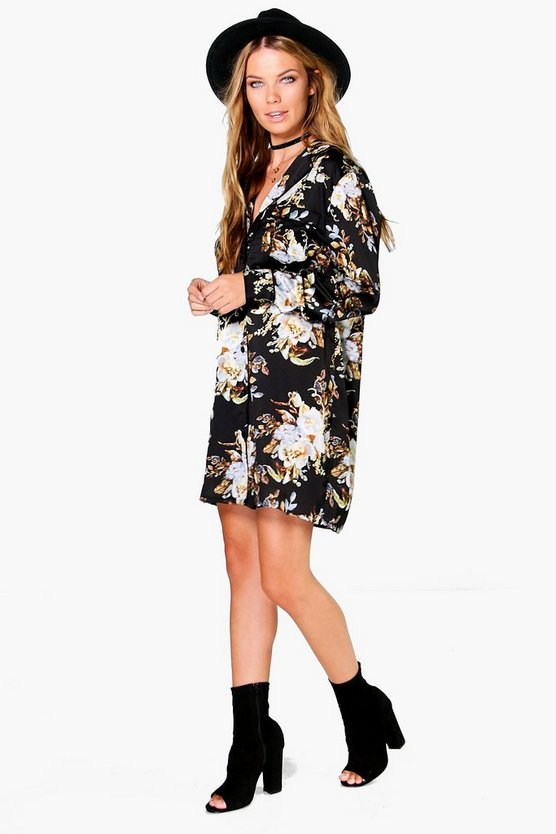 Womens Black Fleur Floral Pyjama Satin Shirt Dress