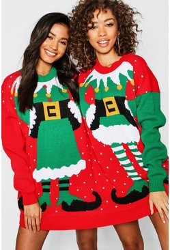 Womens Multi Mr & Mrs Elf Twin Christmas Sweater