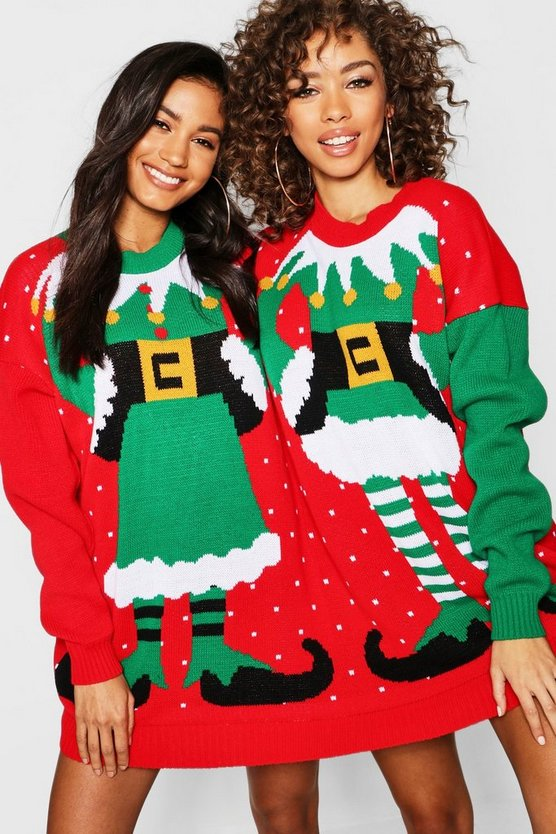 Womens Multi Mr & Mrs Elf Twin Christmas Jumper