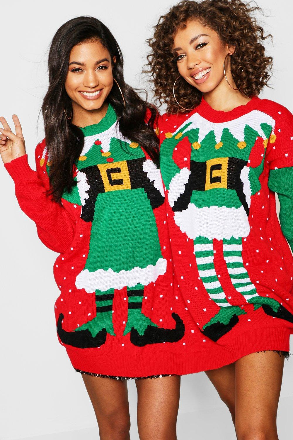 50f08789fd3 Womens Multi Mr   Mrs Elf Twin Christmas Jumper. Hover to zoom. Close video