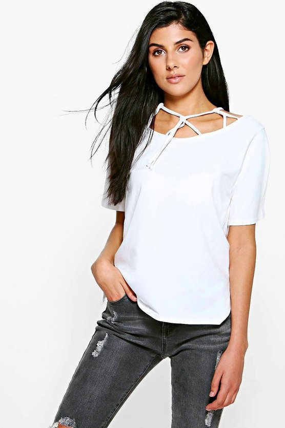 Daisy Caged Loop Detail Neck T-Shirt