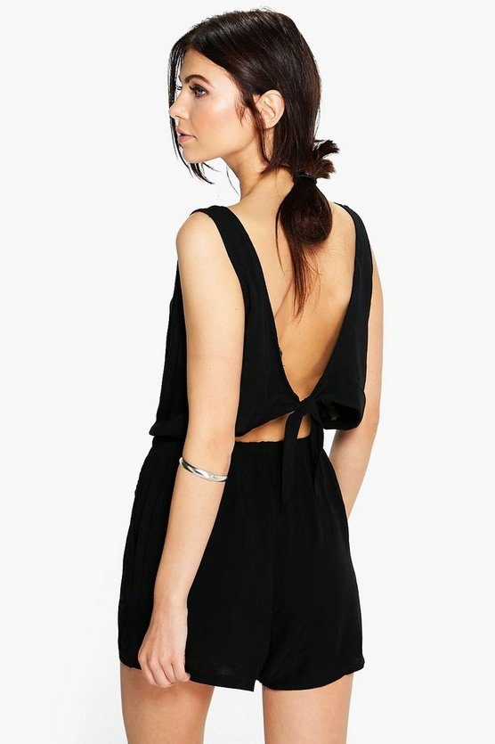 Womens Black Basic Tie Back Playsuit