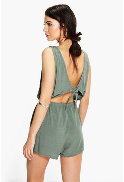 Womens Khaki Basic Tie Back Playsuit
